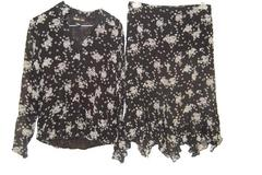 Women Style & Co Blouse & Skirt Set Black & White Bubbles Light Flowing Spring 6