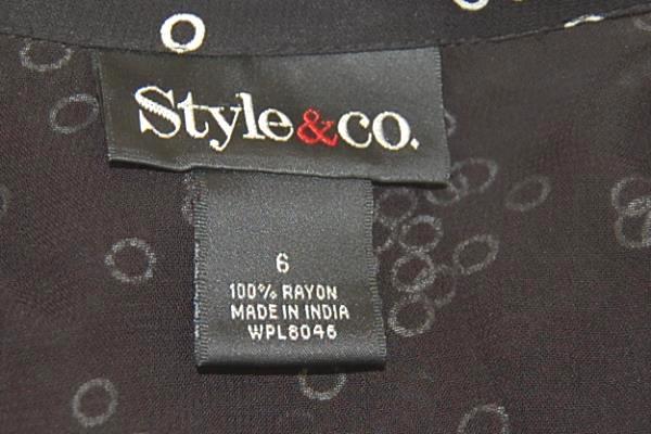 Women Style & Co Blouse & Skirt Set Black & White Bubbles Light Flowing Spring 6
