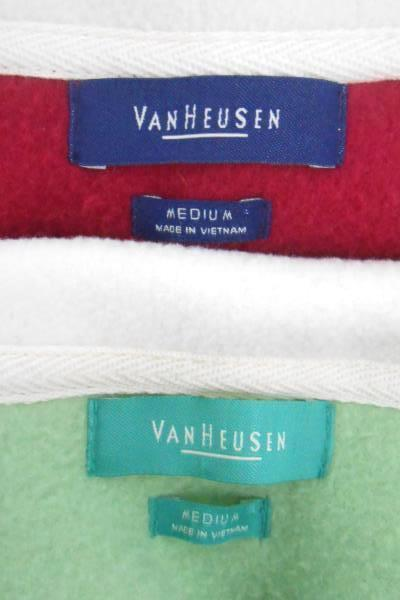 Lot of 2 Women's Van Heusen Zip up Fleece Vests Pink Green Medium