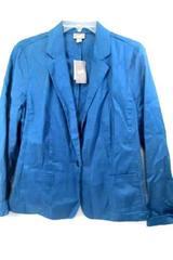 J-Jill Women's Blazer Solid Blue w/ 2 Pockets Size Stretch Large