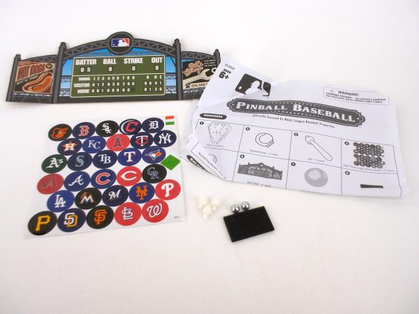 MLB Tabletop Pinball Baseball Game w/ Team Stickers MLB808 COMPLETE