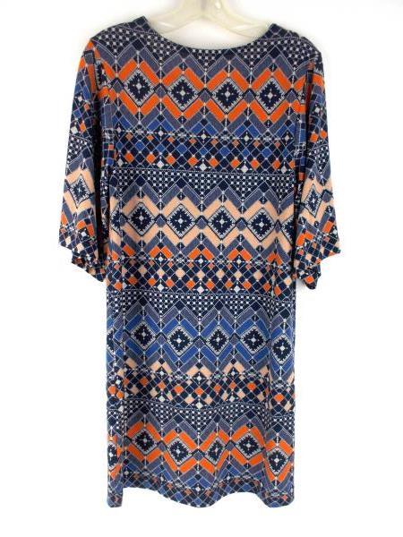 NALLY & MILLIE Short Sleeve Shift Dress Stretch Tribal Print Knit Women's Sz XS