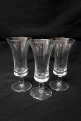 "Set of 3 Pedestal Shot Glasses Clear Glass 4.5"" Home Bar Entertaining"