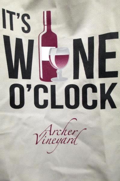 "Apron by Archer Vineyard ""It's Wine O'Clock"" Tan Color, Adjustable Strap"