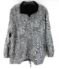 Vtg 80's Black / White Zebra Print Stripe Reversible Jacket Women's XL / XXL