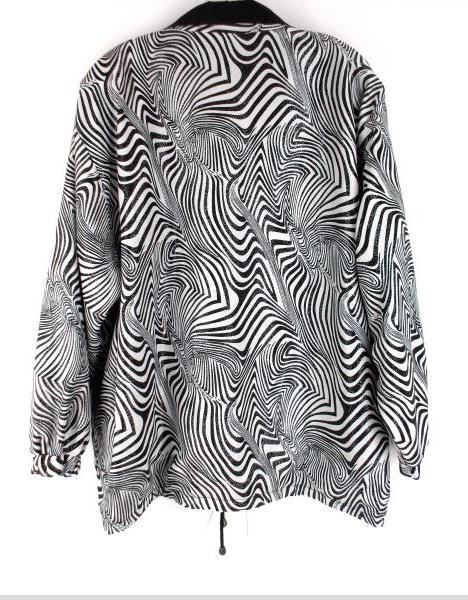 Vtg 80's Black / White Zebra Print Stripe Reversible Jacket Women's XL / XXL