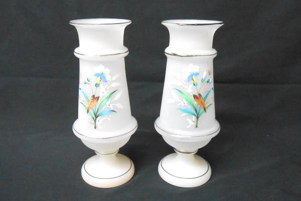Lot Of 2 Vases Frosted Glass Floral Enamel Hand Painted Pedestal