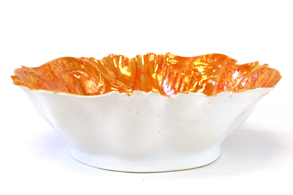 JPF Germany Art Display Bowl With Cupids and Ornate Textured Orange Rim