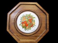 Octagon Cheese Platter w/ Nuts Plastic Middle & Wood Outside Made By Goodwood