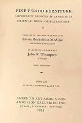 Catalog Public Exhibition Estate of Late Emma Rockefeller McAlpin 1935