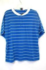 Bold Spirit Men's V-Neck Button Up Shirt Blue White Size Large w/Tags