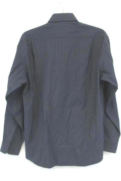 DKNY Men's Dark Blue Pin Striped Dress Shirt 100% Cotton Size 16