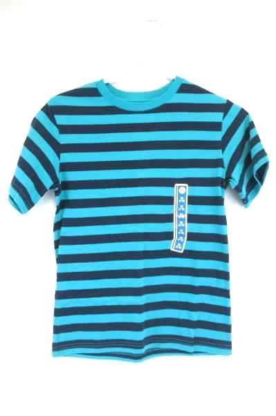 Circo Youth T-Shirt Teal Blue Striped Short Sleeve Tee Kid's Size M (8-10)