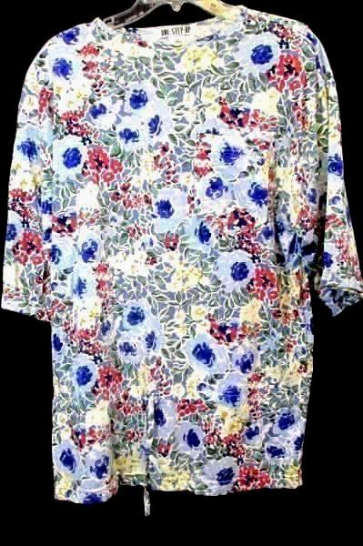 Lot of 2 T-Shirts By Katelyn Rose Blue White Floral Drawstring Women's Size L