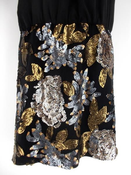 ADELYN RAE Black w/ Gold Sequin LBD Racer Back Party Cocktail Dress ~ SMALL