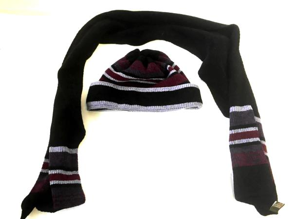 Women's Scarf And Hat Black With Purple In Color One Size Fits Most