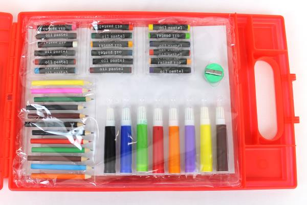 Red Dexas Storage Clipboard w/ Art Supplies - Never Used Markers Crayons Pencils