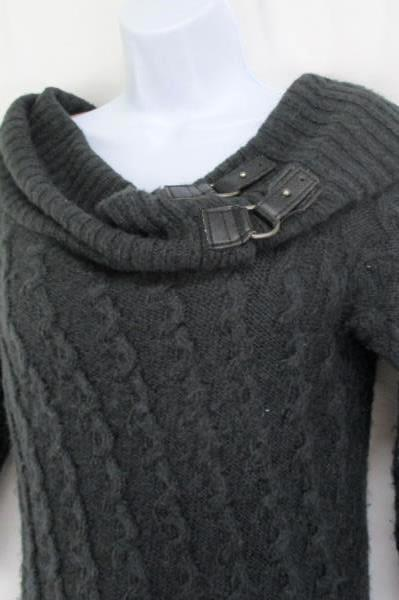 JJ Basics Women's Cowl Neck Sweater 3/4 Sleeve Gray Thick Knit Size Medium