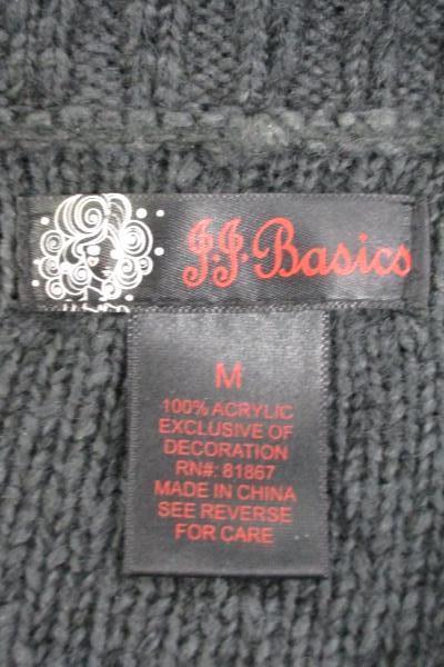 JJ Basics Women's Cowl Neck Sweater 3/4 Sleeve Gray Thick Knit Size Medium