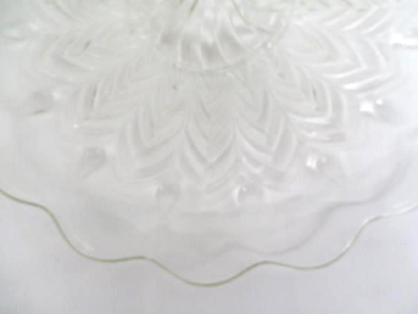 Glass Serving Tray Center Handle H'orderves Ring Scalloped Clear