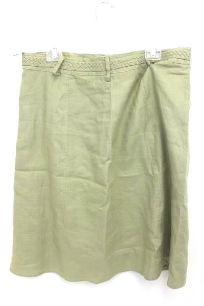 Women's E.col.o.gie Olive Green Linen Skirt Casual Business Size 14