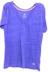 Adidas Purple V Neck Sport Fitness Workout Thin Cotton Blend Shirt Size L
