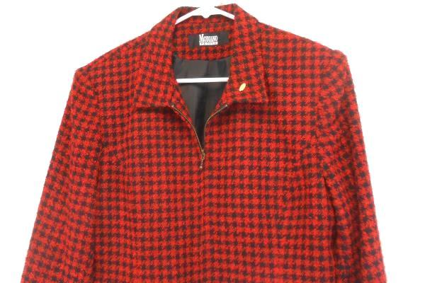 Women's Modiano Petite Red Black Herringbone Pattern Zip Up Jacket Coat