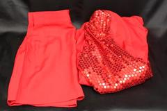 Women's I.O.U Red Vintage Business 2 Piece Sequin Blazer & Skirt Size 7-8
