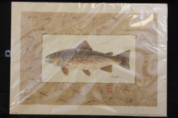 1994 Peg Wheeler Hope Trout Brown H310 Lithograph Print 12x17""