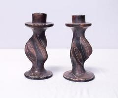 Handcrafted Kenya Africa African Twisted Soapstone Taper Candlestick Holders 5""