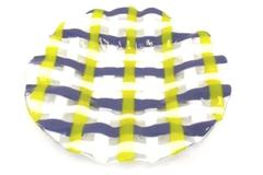 Art Glass Decorator Plate Handmade Round Blue White Yellow Weave Pattern Signed