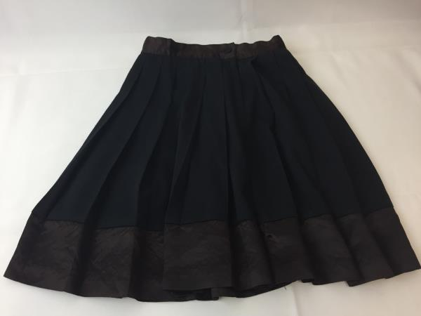 Un Deux Trois Pleated Skirt Black Dark Brown DARLING! Size 5