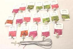 Lot of 19 Spiritual Bracelets Green Pink Orange