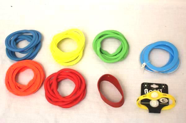 Lot Of 48 Rubber and 4 Plastic Bangle Bracelets