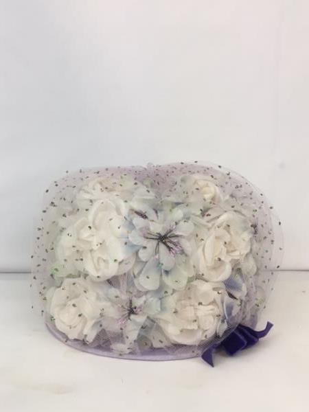 Dazzling Authentic Vintage Le Charmé Creations Lilac Flowered Hat