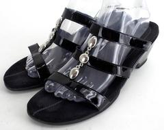 MEPHISTO Black Patent Leather CATARON Strappy Slip On Wedge Comfort Sandal Sz 42