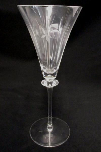 Set of 2 Fluted Champagne Glasses Elegant Etched Glass Formal Wedding Party