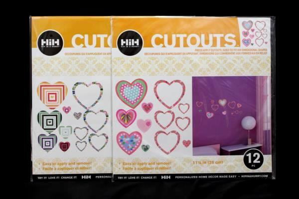 Lot of 2 Hip In A Hurry Heart Shaped Cutouts Twelve (12) 11 1/4 In Pieces