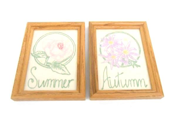 Set of 4 Framed Vintage Embroidery Floral Wall Decor Spring Winter Summer Autumn