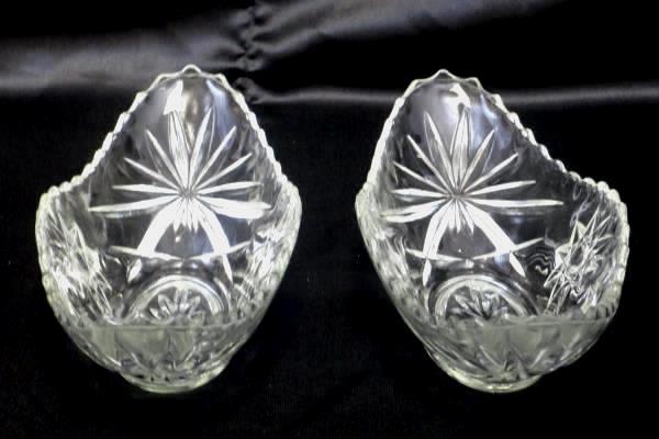 Lot of 2 Oval Shaped Cut Glass Bowls