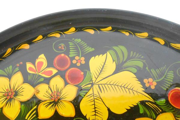 Russian Style Malamine Laquered Plate Flower & Leaves Red Gold & Green