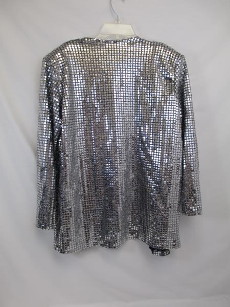 Korrigan Women's Silver Beaded Jacket Size Small #561 ~Made w/ Polyester Knit