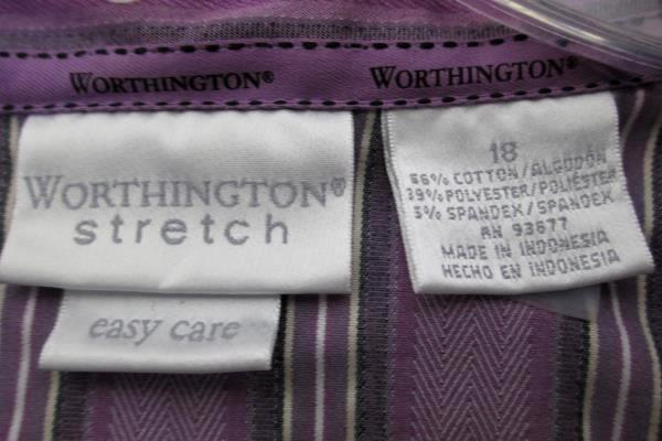Worthington Stretch Women's Button Down Purple Striped Size 18