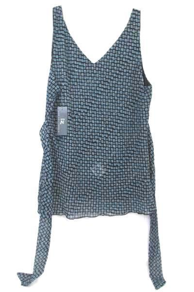 Womens Tank Top w/ Back Tie By IZ Byer Black Blue 100% Polyester Size Large