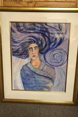 Portrait of a Sleeping Woman in Swirling Blues & Purples in Pastels and Oils