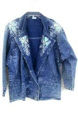 Jean Jacket by Unknown beaded Floral Faded Blue Women's Size M