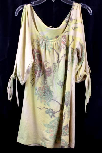 Womens Top By Charlotte Russe Yellow Floral Tied Sleeve Size S