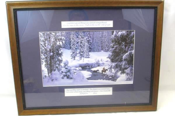 Framed Print of Person On Horseback Featuring Job 37: 5-9 With A Quote By Hess