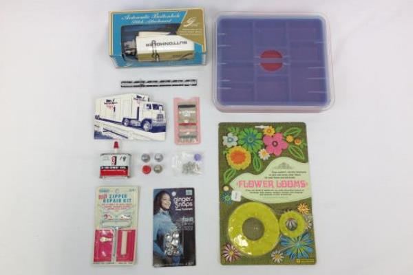 Vintage Lot of Sewing Crafting Accessories Buttonholer Flower Looms Tray Needles