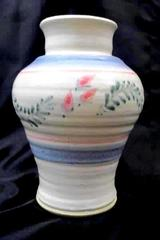 Handcrafted Pottery Vase By Martin's White Pink Blue Leaves Artist Signed